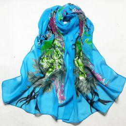 Foulards imprimés en soie chinoise femmes en Ligne-Soie Mousseline De Soie Foulard Femmes Paon Vert Bleu Couleur Floral Style Chinois Imprimé Femme Foulard Beach Shawl SS-007