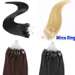 Wholesale Micro Ring Hair Extensions 613 - Loop Micro Ring Human Hair Extensions Brazilian Hair Straight 1g pc 100 Strands Pack #4 #6 #613 Honey Blonde Micro Loop Hair Extensions