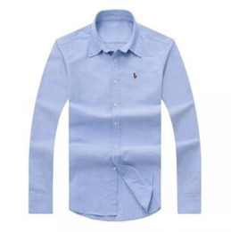 Wholesale Oxford Shirts Clothing - Wholesale 2017 autumn and winter men's long-sleeved Dress shirt pure men's casual POLO shirt fashion Oxford shirt social brand clothing lar