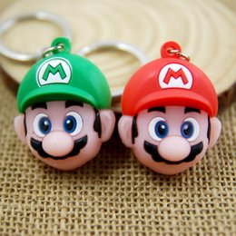 Wholesale Super Mario Toys Accessories - Hot ! 2 Color Super Mario Game Red & Green Mario PVC Keychain Action Figure KeyChain Ring Keyring Pendant 5.5*5.3cm