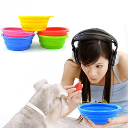 Wholesale Dog Water Drink - Silicone Collapsible Pet Dog Bowl Food Water Feeder Portable Foldable Drinking Bowls Products For Dogs