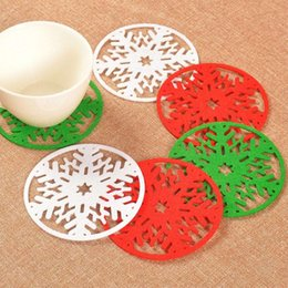 Wholesale Dishes Modern - 2016 Merry Christmas Snowflakes Cup Mat Christmas Decorations Dinner Party Dish Tray Pad for Home Decor