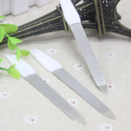 Wholesale Nail Buffer Metal - 1Pc Dual Sided Metal Nail Files Double Sides Nail Art Sanding Shaping File Buffer Manicure Pedicure Scrub Grinding Rod Tools For Salon