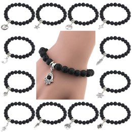 Wholesale Anchor Bracelets Green - 12 styles Lava Rock Beads Bracelets With Anchor Rudder tree cross feather star charms Black stone bangle Bracelet For women Fashion Jewelry