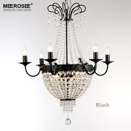 Wholesale French Vintage Art - Gorgeous French Empire Crystal Chandelier Light Fixture Vintage Crystal Lighting Wrought Iron White Chrome Black Whitr color