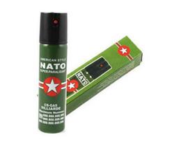 Wholesale Defense Pepper - 2017 Hot Sell NEW 2PCS Lot NATO CS-GAS 60ML TEAR GAS PEPPER SPRAY sex maniac Men Women Security self-defense Tool Free shipping