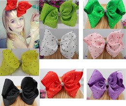 Wholesale Kids Rhinestone Hair Clips - 8inch JOJO hair bow Grosgrain Ribbon Rhinestone Bow With Clip For Kids Handmade Boutique Crystal Hairgrips Girl Hair Accessories.20pcs\