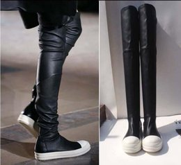 Wholesale Fashion Tide New Women s Owens Black Thigh High Sock Sneakers Ramones Dark Dust Leather High Boot Over The Knee Stretch Tight Boots