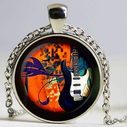 Wholesale Crystal Electric Guitar - Guitar Music glass pendant, Electric guitar necklace, Musical instrument jewelry, birthday gift sliver plated,christmas gift