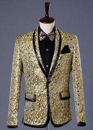Wholesale Married Dress Man - Gold star formal dress marriage suits blazer slim mens blazers set groom married costume banquet man jacket + trousers + tie