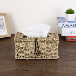 Wholesale Pump Weaves - Wholesale- Grass woven tissue box tray pumping creative home living room straw napkin paper box pumping