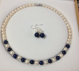 Wholesale Cultured Pearl Necklace Set - Charming!White Akoya Cultured Pearl Lapis Lazuli necklace earrings set A23