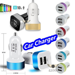 Wholesale Iphone Auto Charger - HOT Sale Universal Colorful Car Charger Aluminum Cycle 5V 3.1A 2 USB Dual Port Auto Power Adaptor For iPhone 8 Samsung s8 Ipad