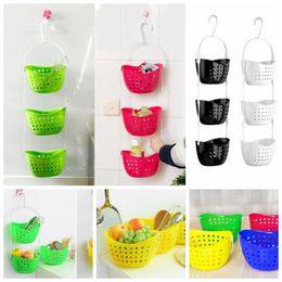 Wholesale Wholesale Hanging Baskets Plastic - 3pcs set Kitchen Storage Baskets Bathroon Hanging Storage Baskets Hanging Drain Bag Basket Bath Storage Tools 13*14cm CCA6470 30set