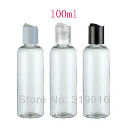 Wholesale Empty Plastic Bottles For Shampoo - 100ml X 50 empty transparent PET plastic lotion bottles with press cap lid for travelling ,shampoo bottle cosmetic packaging