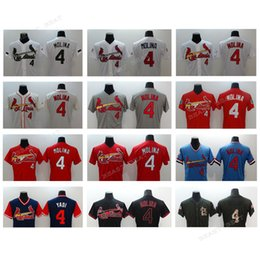 Wholesale Molina Baseball - Men Cardinals baseball jerseys #4 Yadier Molina jerseys Red, black, white, blue Baseball Jersey