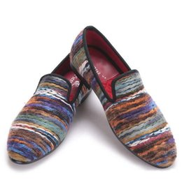 Wholesale Rich Wedding Dresses - Rich color men cotton fabric shoes retro and fashion men loafers British style casual smoking slipper Plus size men's flat