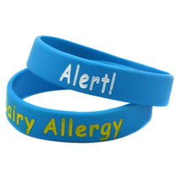 Wholesale Children Allergies - 100PCS Lot Dairy Allergy Medical Alert Bracelet Silicone Wristband For Children, Great to Used In School Or Outdoor Activities