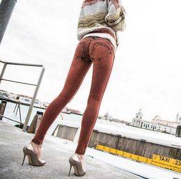 Wholesale Women S Vintage Print Pants - 2017 Hot Sale New Fashion Euramerican High Waist Elastic Jeans Thin Skinny Pencil Pants Sexy Slim Hip Denim Jean Pants For Women