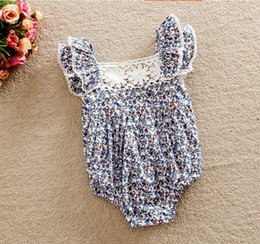 Wholesale Dress Lace Rompers Baby Girl - 2017 summer lace one piece Triangle rompers kids girls Lotus floral sleeveless dress baby Clothing Sets rompers Infant Jumpsuit bodysuits