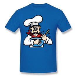 Wholesale Cook T Shirts - Adult Short Sleeve T Shirt Cook Cooking Cool Shirts For Guys Hombre Short Sleeve Tee Blue Costume O-Neck Mens Nice Shirts