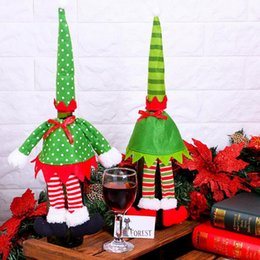 Wholesale Cloth Wine Bottle Covers - Christmas Red Wine Bottle Cover Bag Dot Striped Red Wine Bottle Bags Bottle Sleeves Table Decor Xmas Decoration OOA3656