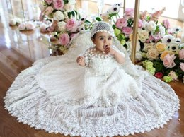 Wholesale Quality Communications - Luxury Flower Baby Christening Gowns Short Sleeves 3D-Floral Appliques Lace Baptism Dresses First Communication Dress High Quality