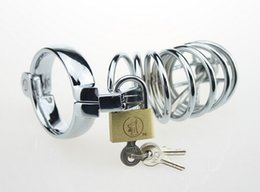 Wholesale Large Ring Male Chastity Devices - New Male Stainless Steel cock Cage Penis Ring With Catheter Chastity Belt Device Bondage BDSM Fetish Sex toy Large Small