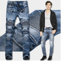 Wholesale Jeans Pant Folding - Fashion Men's foreign trade light blue   black jeans pants motorcycle biker men washing to do the old fold Trousers Casual Runway Denim