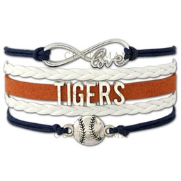 Wholesale Leather Cord Wraps - Custom-Infinity Love Detroit Tigers Baseball Sport MLB Team Bracelet Sports friendship Wax Cords Leather Wrapped Bracelet-Drop Shipping