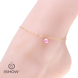 Wholesale Trendy Wholesale Women Sandals - Vintage glass pearl anklets simple foot chain design for women barefoot sandal pulseira feminina multi color