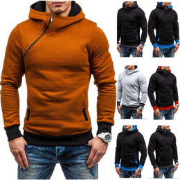 Wholesale Mens Oblique Hoodie - 2017 Hoodie Oblique Zipper Solid Color Hoodies Men Fashion Tracksuit Male Sweatshirt Hoody Mens Purpose Tour XXL