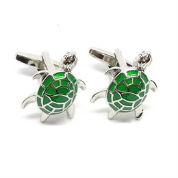 Wholesale Shirts For Men Models - french style 2017 new model funny animal theme green tortoise suit shirt cufflinks for business men
