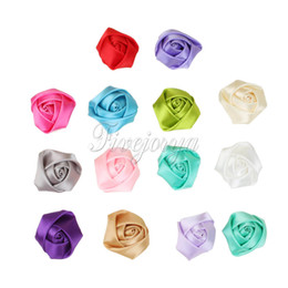 Wholesale Mini Rosettes For Headbands - 200Pcs lot Mini Satin Roses Flowers Heads Rosette Flowers For Baby Headbands Hair Accessories 4CM