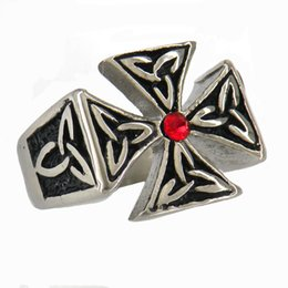 Wholesale German Flowers - STAINLESS STEEL punk vintage mens or womens JEWELRY CELTIC GERMAN FLOWER IRON MILITARY CROSS RING GIFT FOR BROTHERS SISTERS 10W03R