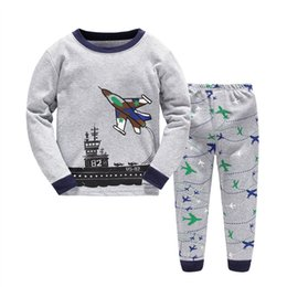 Wholesale Boys Clothing Planes - Boys Airplane Pajamas Baby Cartoon Set Children Clothes 2 Pieces Spring 2017 Kids Sleepwear 2Y-7Y Cute Baby Cotton Plane Home Clothing