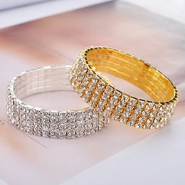 Wholesale New Arrivals Cheap Bangles - wholesale Cheap Crystals Bangles Cuffs Gold Silver 2017 New Arrival Good Quality Bridal Jewelry Accessories Two Colors