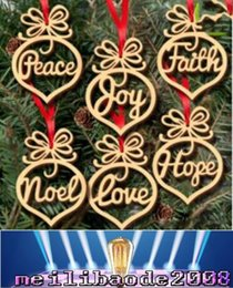 Wholesale Wooden Stand Christmas Decorations - Christmas letter wood Heart Bubble pattern Ornament Christmas Tree Decorations Home Festival Ornaments Hanging Gift free shipping MYY
