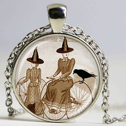 Wholesale Bicycle Jewelry Women - Wholesale Glass Dome cabochon new fashion hot bicycle witch halloween pendant necklace glass dome jewelry for men women new