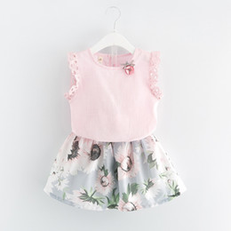 Wholesale Child Skirt Cute - Everweekend Girls Summer Outfits Lace Tees and Floral Skirts 2pcs Sets Western Fashion Cute Children Clothing Wholesale