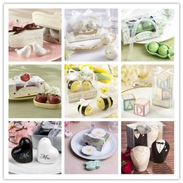 Wholesale House Flower Ceramic - Love birds ceramic seasoning cans Creative wedding favor Party gift Magpie Peas Apple Bee Flower salt and pepper shakers #001