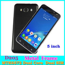 Wholesale Android Smartphone D205 MTK6572 Dual Core G Unlocked Dual SIM Cameras MB GB Smart Wake up Metal Frame quot Mobile phones retail package