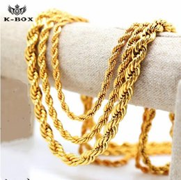 """Wholesale Male Ropes - 2017 Mens 24K Yellow Gold Plated French Rope Chain Necklace 5-10mm 24"""" 30"""" 36"""" Long male Necklace"""