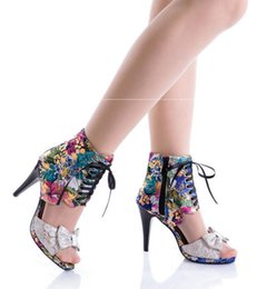 Wholesale Fish Systems - 2017 summer new super high heel size code system and women sandals Silk cloth line fine with fish mouth sandals