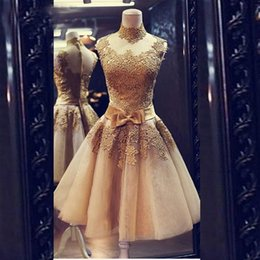 Wholesale Junior One Shoulder Summer Dress - Champagne Prom Dresses Cocktail 2017 Vestidos Curtos De Festa Cheap Short Graduation Evening Gowns for Juniors Fast Shipping