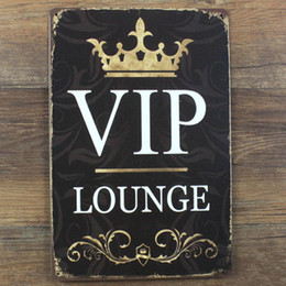 Wholesale Decoration Lounge - Wholesale- VIP Lounge Metal Sign Vintage Home Decor 20*30 cm Shabby Chic Tin Signs For Cafe Bar Pub Decoration