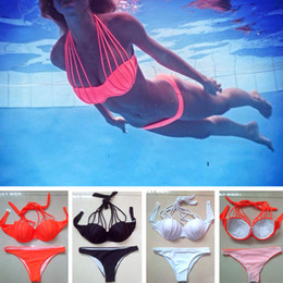 Wholesale Multi Coloured Belts - Blast New Design Women Swimwear High Neck Push Up Swimsuit bathing suit Hollow Out multi-rope Bandage Belts biquini Push Up split Bikini set