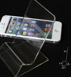 Wholesale Acrylic Cellphone Display - 2017 Universal General Clear Transparent Acrylic Mount Holder Display Stand Shown for iphone Samsung Cellphone Mobile Phone