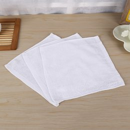 Wholesale Towel White Hands - 100pcs lot Pure White Soft Cotton Towels Organic Baby Flannel Face Hand Embroidered Towel Washcloth Wipes 25x25cm