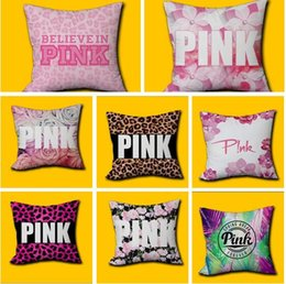 Wholesale Leopard Print Pillowcase - Pink Pillow Cover VS Leopard Home Office Decor Cushion Cover Decorative Pillowcase Double-sided Printing dhl Pink Letter Free Shipping